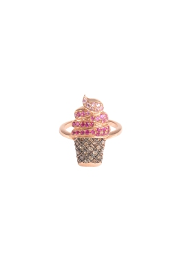 Bague Or, Rubis, Saphirs roses et Diamants L'or Jewelry