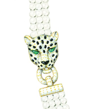 Archives Cartier © Cartier. Preparatory drawing for a pearl necklace with two panther heads, in yellow gold, diamonds, emeralds, and onyx.