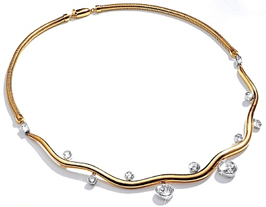 Wave Necklace Diamond and Gold © Belperron
