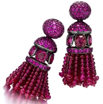 Boucles d'Oreilles Rubis, Saphirs Roses, Or © Hemmerle