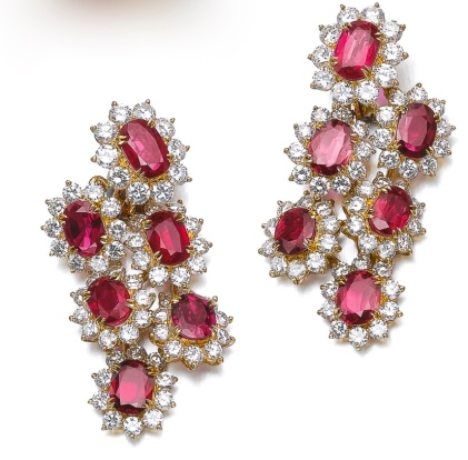 Boucles d'Oreilles Rubis, Diamants