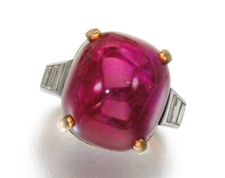 Bague Rubis, Diamants 1950