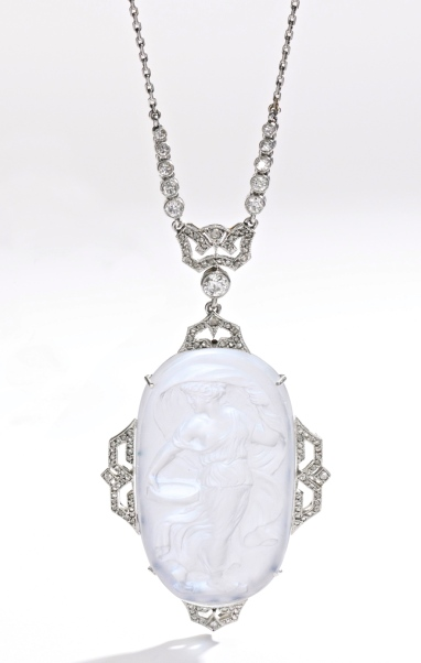 Collier Janesich Pierre de Lune, Diamants, Platine 1915