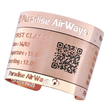 """Patrice Fabre """"Boarding Pass"""" Manchette Or Rose. ©MCM"""